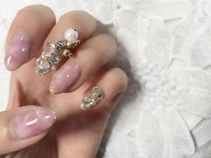 ピンク大理石ネイル